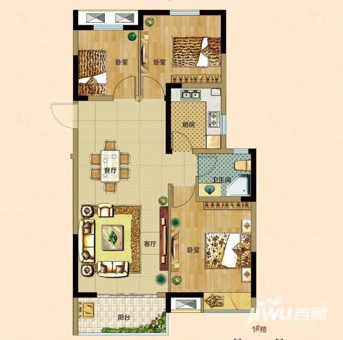 3室2厅1卫 送10㎡储藏室