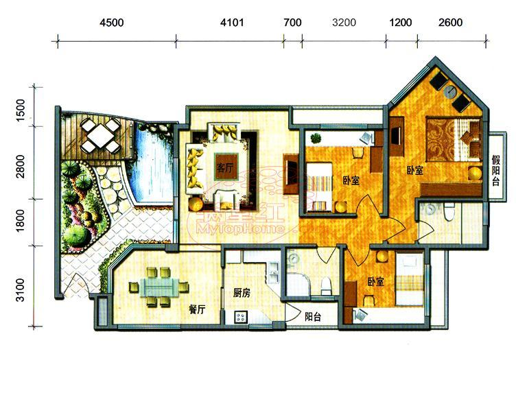 一楼带花园翠宏台少有放租 家电齐全 房子漂亮新装修