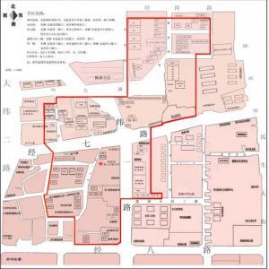 济南市中区58所学校学区划分示意图